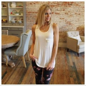 LAST ONE! White Zipper Pocket Racer Back Tunic